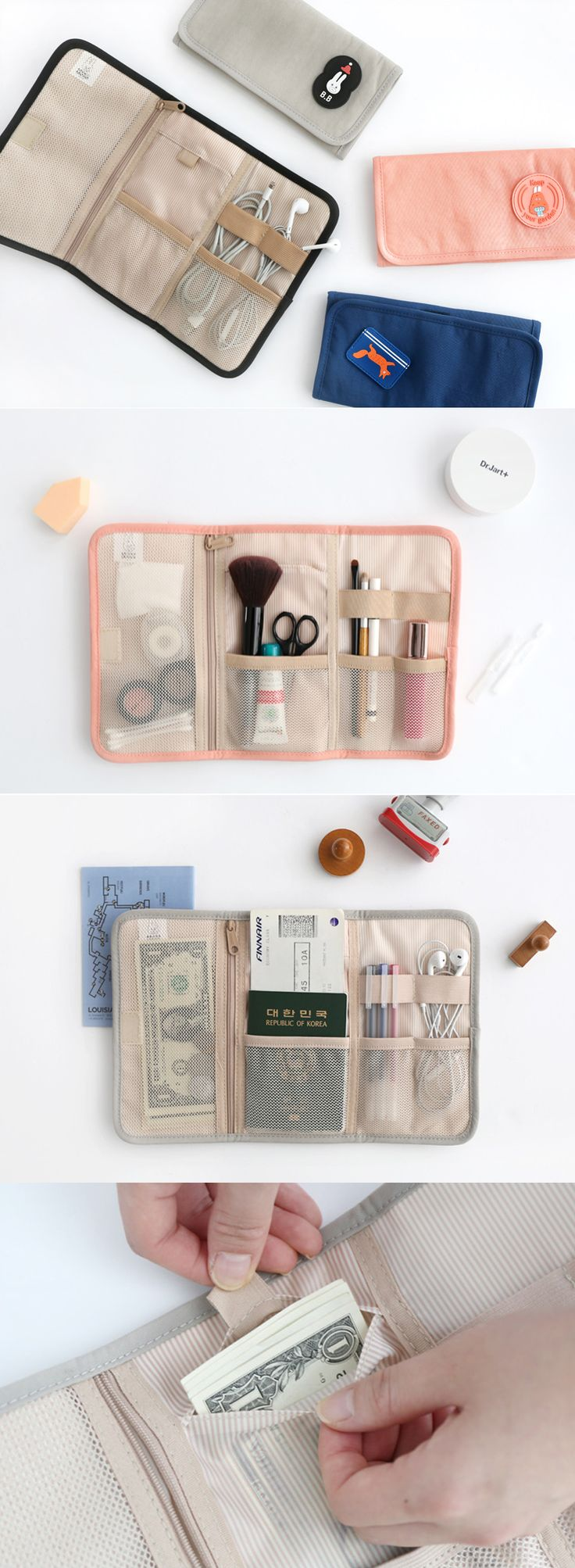 The Brunch Brother Roll Up Organizer is full of charm and practically designed. It rolls or folds up and can be secured with velcro. The 3 interior sections feature 1 mesh zippered pocket for coins, 3 open mesh pockets, 2 wide elastic bands, and 1 bonus secret pocket! This organizer is perfect for travel accessories, makeup, planner supplies, and loose device cords. It's a versatile must have, so check it out!