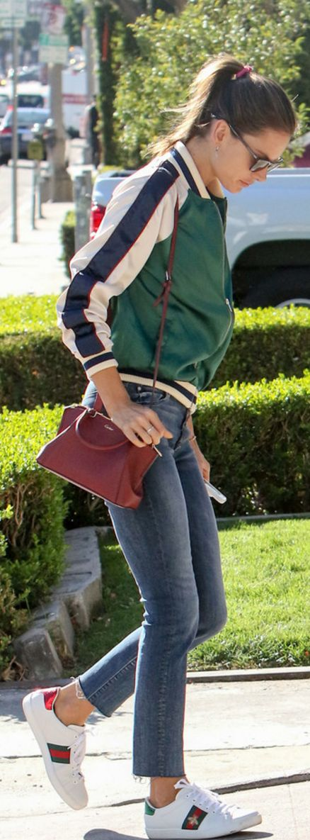 Alessandra Ambrosio in Jacket – Lovers + Friends  Purse – Gucci  Jeans – Mother