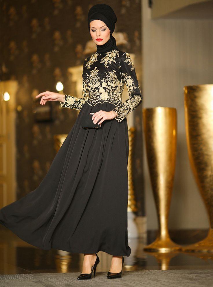 Güpürlü Abiye Elbise - Siyah - Dersaadet ::
