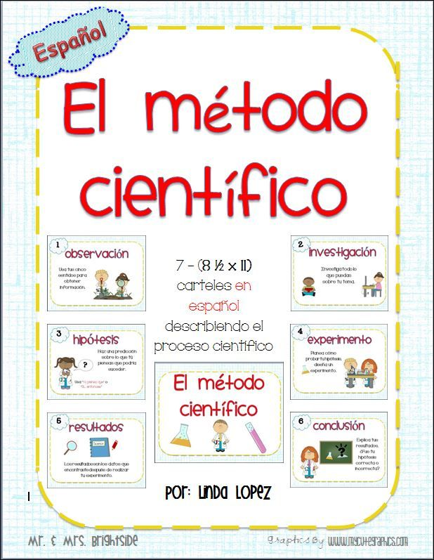 El metodo cientifico : Scientific method posters in Spanish for bilingual or dual language science classrooms.