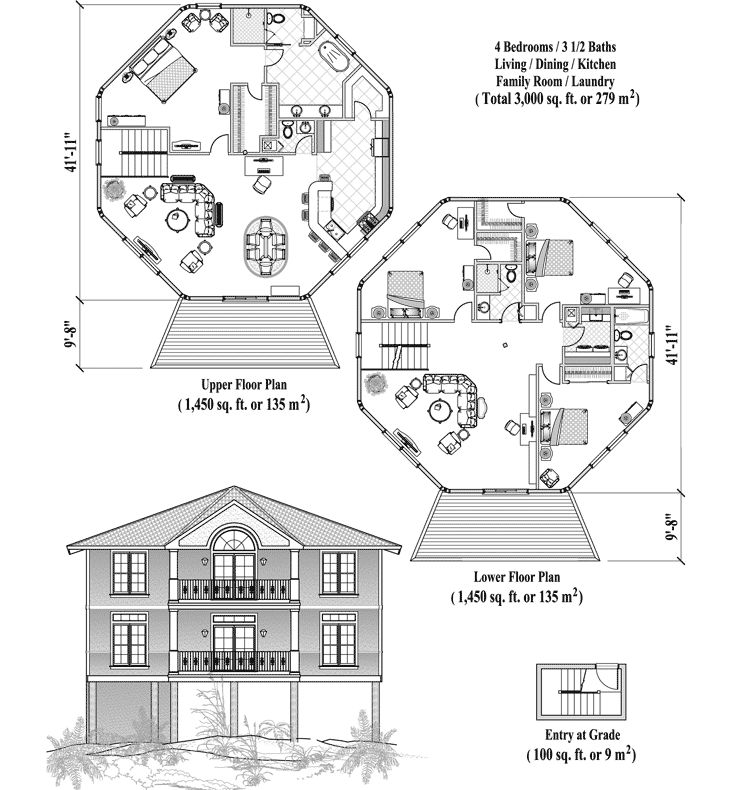 Two Story Piling Collection Pgt 0606 3000 Sq Ft 4 Bedrooms 3 5 Baths Living Dining