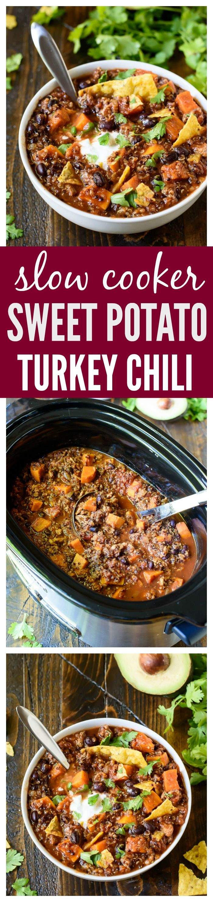 Slow Cooker Sweet Potato Turkey Chili with Quinoa and Black Beans.