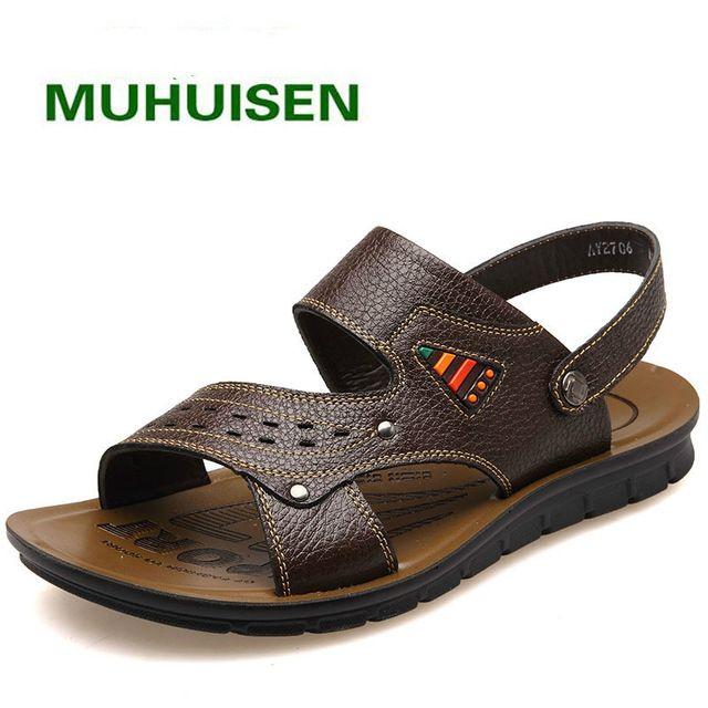 2017 Verano Nuevos Zapatos de Cuero Genuinos de Los Hombres Ahueca Hacia Fuera Transpirable Zapatos de Playa Sandalias de Cuero de Los Hombres Negro Marrón Plana Sandalia de tacón