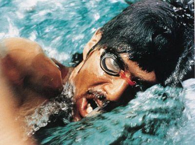 1972, 4 septembre. Allemagne de l¹Ouest.  JO de Munich. Mark Spitz gagne  sept médailles d'or en natation.