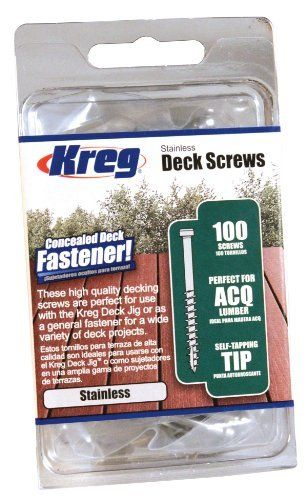 KREG SDK-C2SS-100 2-Inch, #8 Coarse, Stainless Steel Deck Screw, 100 Ct by Kreg. $13.23. From the Manufacturer                Kreg Deck Screws were designed specifically for use with the Kreg Deck Jig, and they can also be used as simple face-screws for a variety of outdoor projects. These screws are made from a highly weather-resistant Stainless Steel, providing the ultimate protection against rust and corrosion.                                    Product Descr...