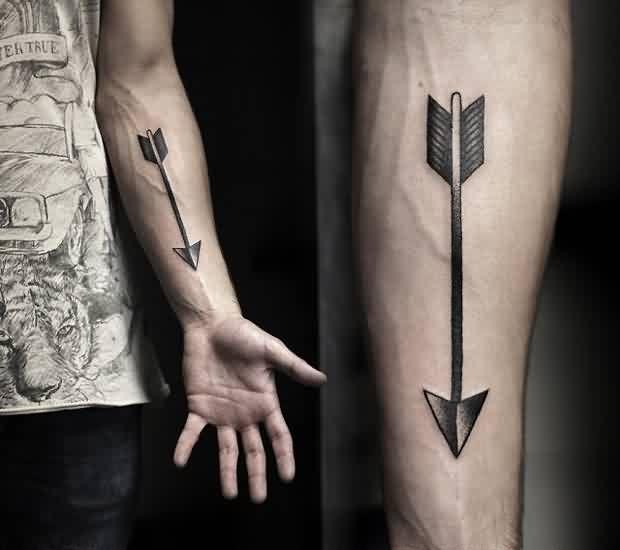 Grey Ink Triangle Arrow Tattoo On Forearm