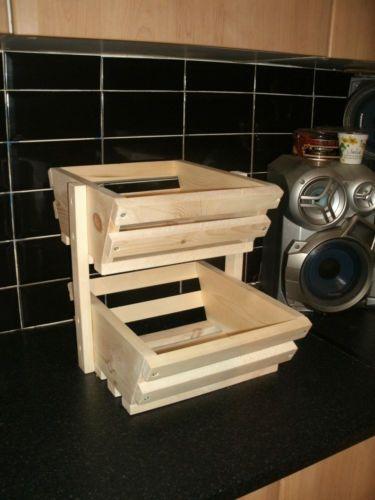 Charming Handmade Pine Kitchen Fruit U0026vegetable Rack Storage 2 Tier Stand/kitchen  Stand