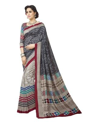 Bhagalpuri Art Silk Grey Printed Saree With Multicolor Strip Print Blouse By Roop Kashish Sarees on Shimply.com