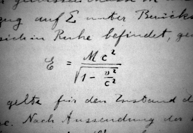 The first occurrence of Einstein's E=MC^2 equation in his own writing.
