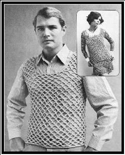 HE & SHE TANK TOPS - Groovy Crochet ...ah (ha?) the 70's ... the ladies version is cute.