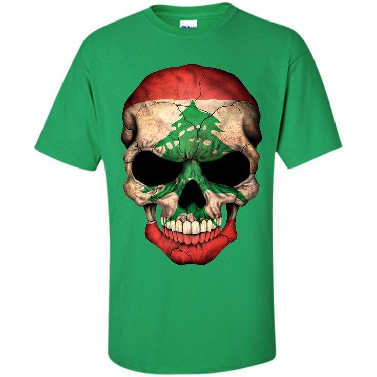 Lebanese Flag Skull Lebanon T-Shirt
