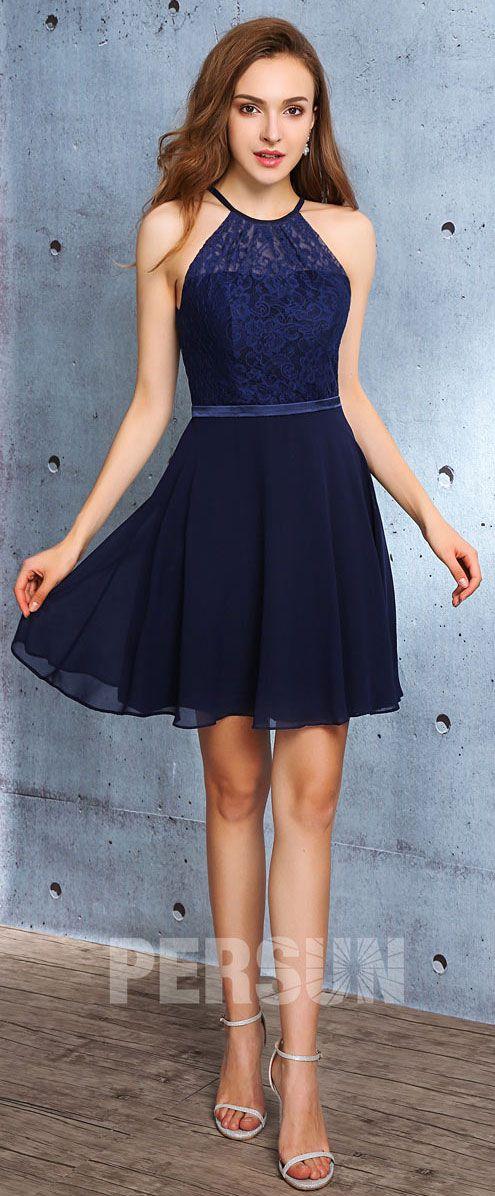 2d278efa9b8c7 Tendance robe courte bleu nuit chic à col illusion en 2019 | Robe de ...