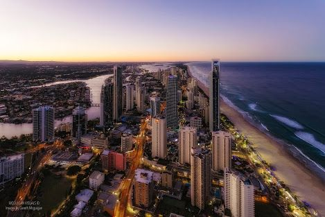 Looking north from the top of the Q1 on the Gold Coast, Qld, Australia
