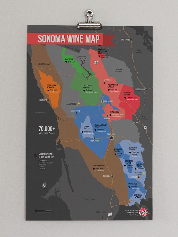 USA California North Coast Wine Map 100