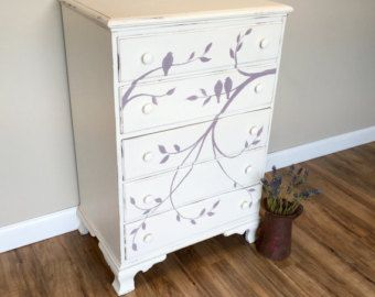 Tall White Dresser - Baby Nursery Furniture - Country Style Furniture - Tall Chest of Drawers - Girls Dresser - Distressed Furniture