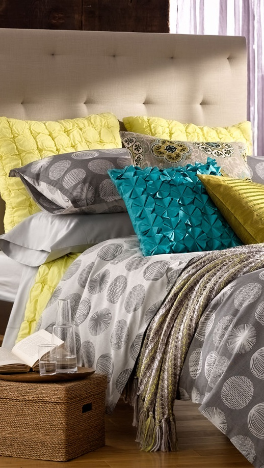Some Of My Faves Gray Yellow Turquoise At Home Scribble Dots Collection Bedroom