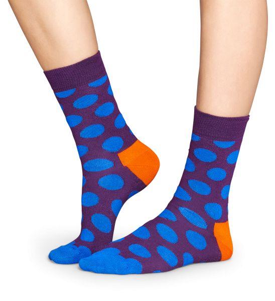 Sokken met Big Dot Design - blauwe dots op een paarse basis - een oranje hiel en blauwe tenen