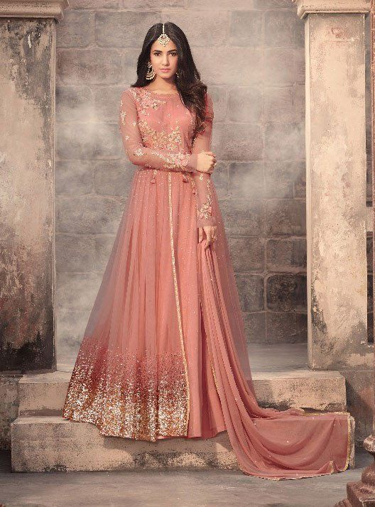 9b7f87a6cc Sonal Chauhan Peach Designer Anarkali Suit | Anarkali Dresses | Saree  wedding, Anarkali suits, Anarkali dress