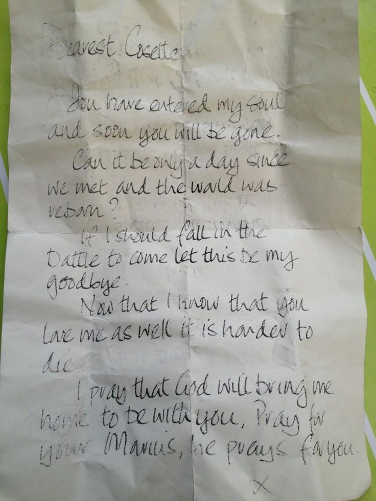 """Marius's letter to Cosette (posted on Twitter by Gerónimo Rauch, London Valjean: """"Look what I found in my pocket!"""")."""