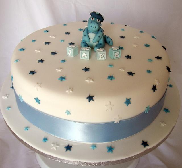 jake christening cake dinosaur stars by Jill The Cakemaker, via Flickr