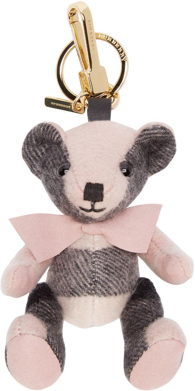 Burberry London Pink & Black Cashmere Thomas Bear Keychain 150