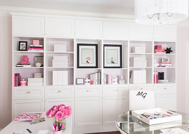 Pretty Bookshelves And Storage Using 3 Ikea Besta Double