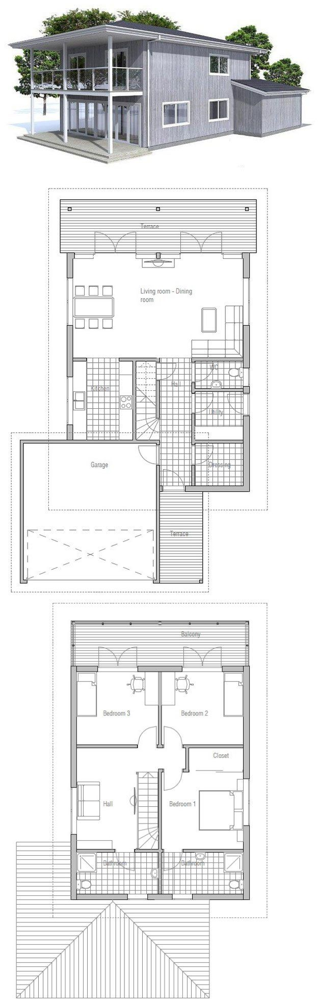 Small House Plan With Three Bedrooms, Garage, Suitable To Narrow Lot, Big  Balconies