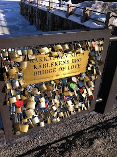 Bridge of love in Helsinki. Engrave your names in a lock, lock it to the bridge and throw the key in the water. #Finland #Travel #Love