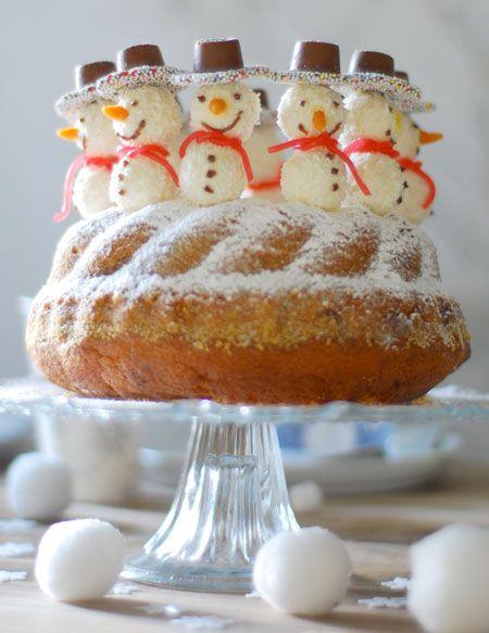 Carrot Bundt Cake with Donut Hole + Marzipan Snowmen