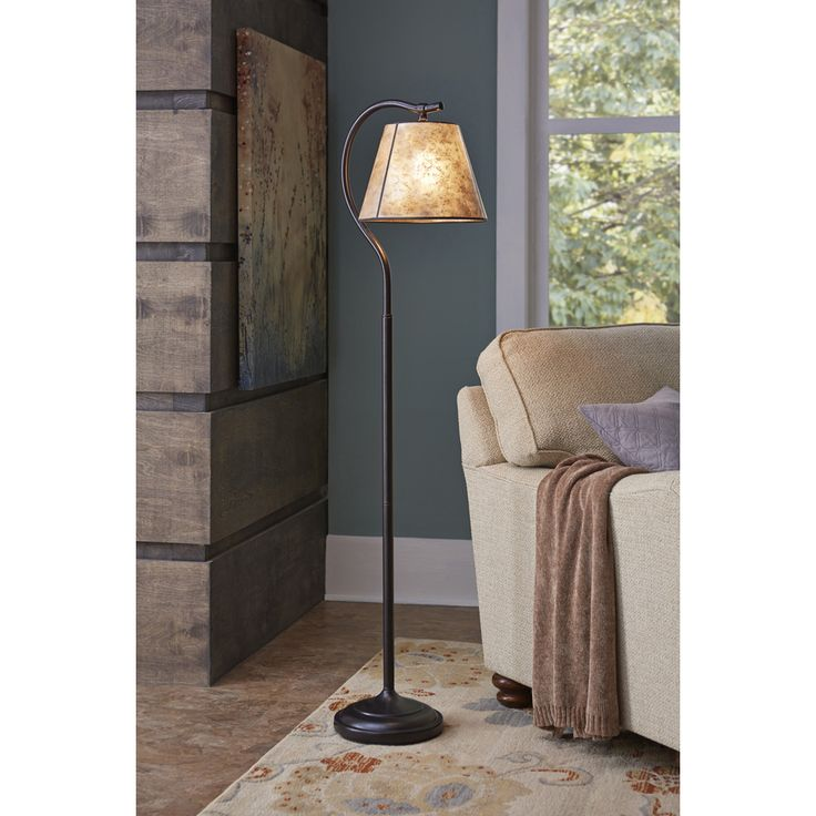 Shop 575 In Bronze Standard Shaded Indoor Floor Lamp With Mica Shade At Lowes