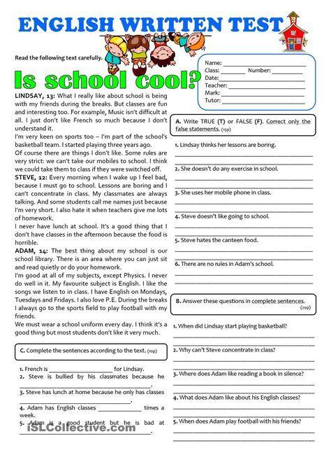 IS SCHOOL COOL? - 7th grade TEST