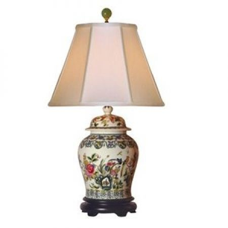 Asian influenced temple ginger jar porcelain table lamp with colorful floral design on a temple jar base style at lamps plus
