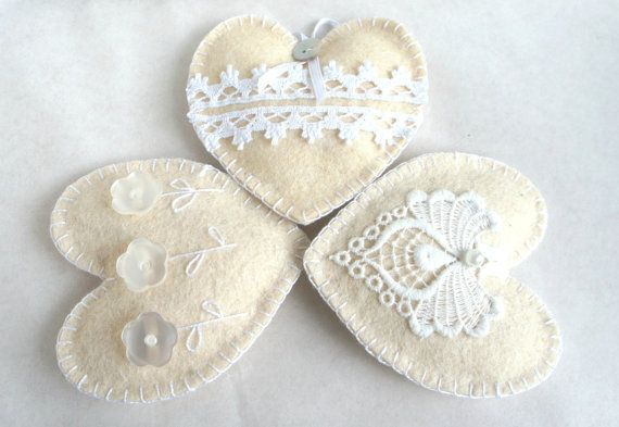 Wool felt heart ornaments with button flowers by PrettyFeltThings, $15.00
