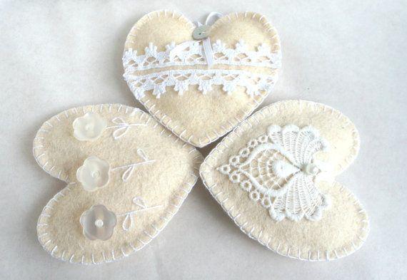 Wool felt heart ornaments with button flowers by PrettyFeltThings, $15.00