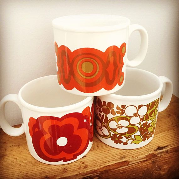 staffordshire/tea/mugs/kilncraft/set/1970s