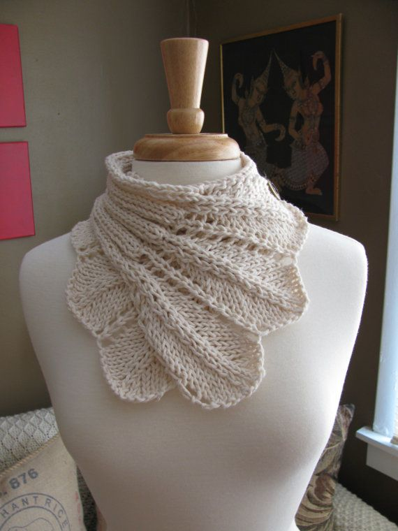 Feather Lace Buttoned Wrap Cowl patternPDF by TheKnitKnot on Etsy, $4.00
