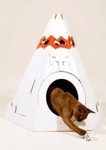 Cat Teepee!Cardboard House, Kitty Cat, Pet Houses, Pets House, Mod Retro, Cat Teepe, Cat House, Retro Vintage, American Teepe