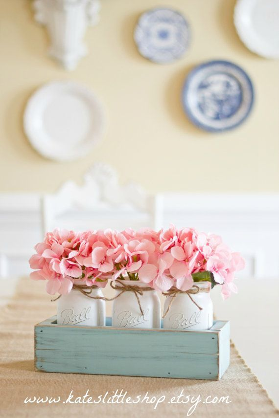 Rustic Planter Box With 3 Vintage Style Mason Jars Blue Home Decor Table