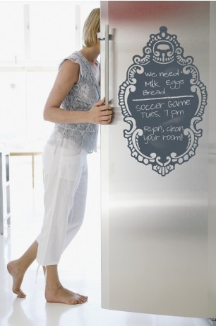 Love these temporary chalkboards and white erase boards. Would love this on my fridge. Removable, reusable, peel  stick, BPA/Phalate Free and no voc's, what's not to love?