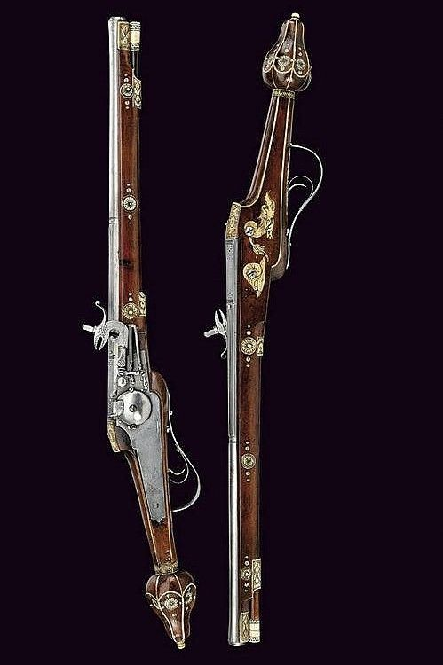 An ornate wheellock pistol belonging to a guard of King Christian II of Saxony.  Circa 1610.