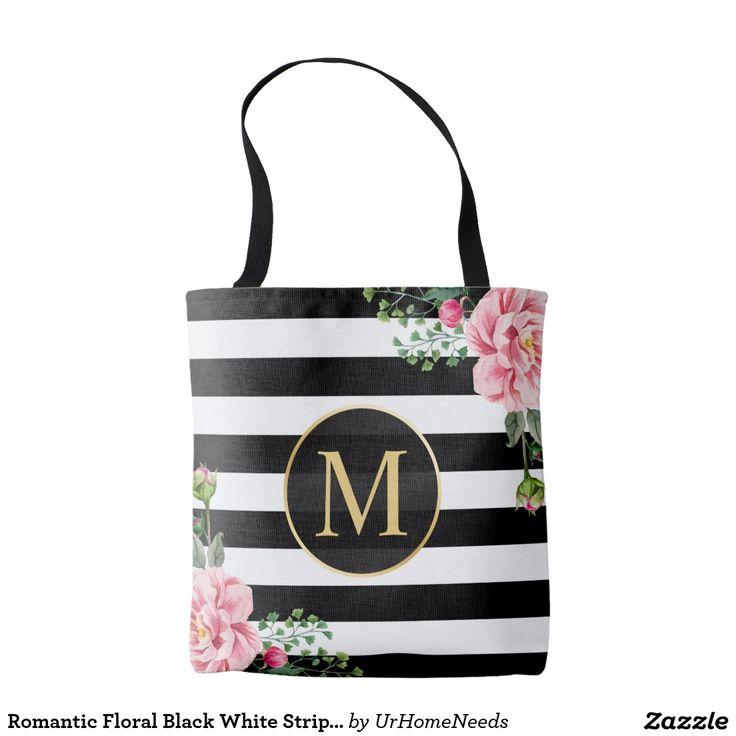 Romantic Floral Black White Stripes Monogram
