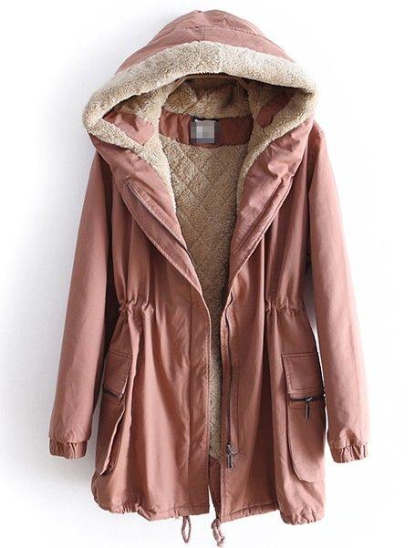 Dark Pink Hooded Long Sleeve Drawstring Pockets Coat - Sheinside.com