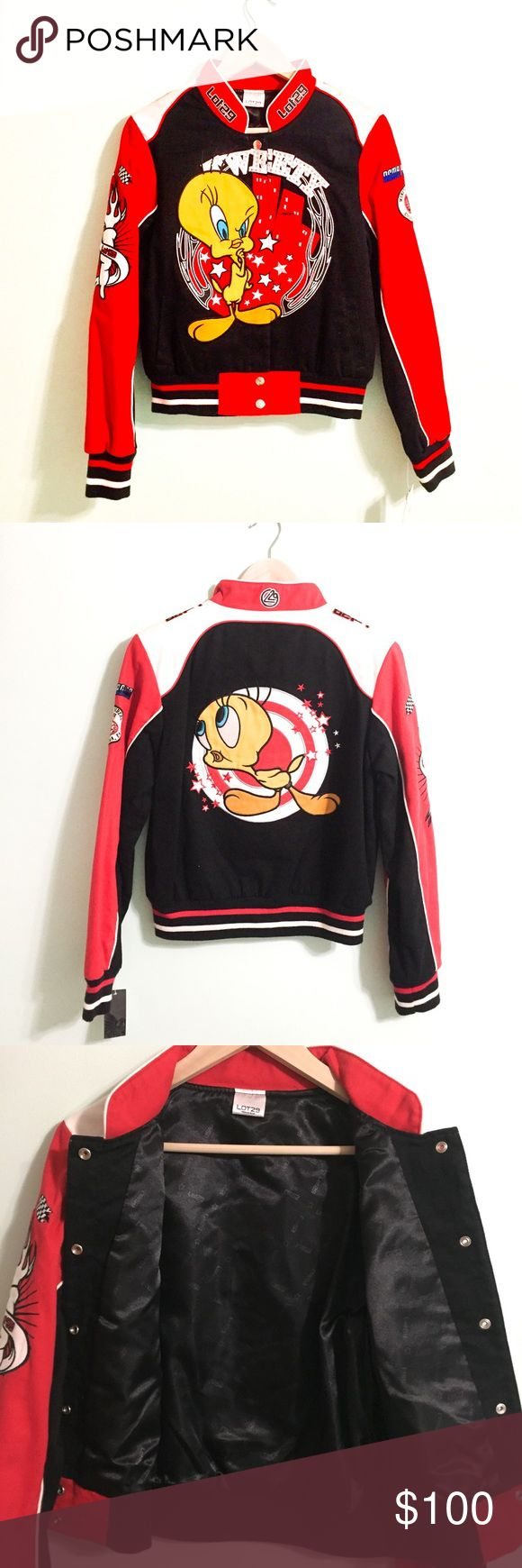 NWT Vintage 90s Tweety Bird Bomber Jacket Vintage 90s Tweety Bird Bomber Jacket. Trademark Looney Toons! Brand is LOT 29! Red, black, white and yellow. Amazing colors and excellent condition. NWT! Shell: 100% cotton. Lining: 100% polyester. Size L in vintage sizing. Would fit a medium as well! Bust: 20in Length: 22in Arm: 24in. Offers welcome! Vintage Jackets & Coats