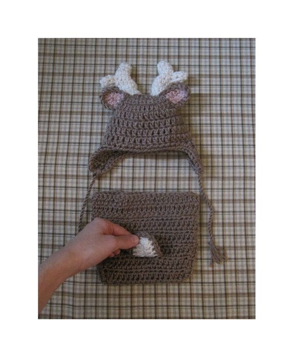 Crochet Deer Hat and Deer Diaper Cover Optional Bow by ...