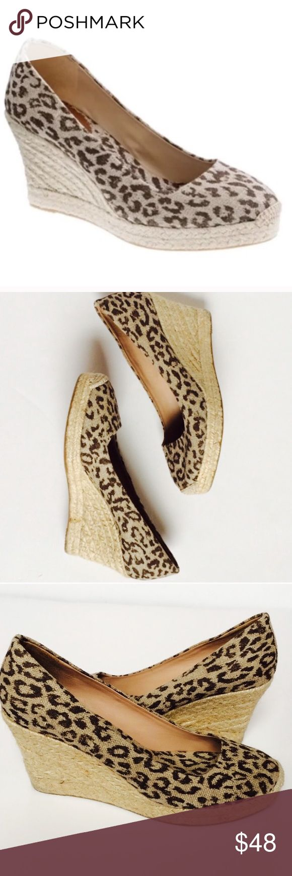 """J. Crew Leopard Espadrilles Wedges 10 J. Crew, not factory. Excellent condition - no flaws. Worn just a few times. Canvas upper with leather interior lining. Heel height of 3"""". Size 10. J. Crew Shoes Wedges"""