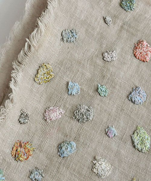 Sophie Digard PEPITA LINEN SCARF/ GREYSAND: Luvri Little mends in antique coloured threads