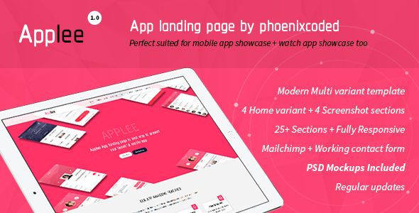 Applee App Landing Page HTML Version (With images) | App ...