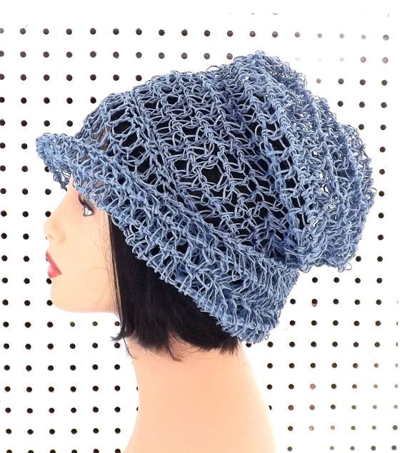 Crochet Hat Womens Hat Summer Hat for Women Crochet Beanie Hat Light Blue Hat OMBRETTA Summer Beanie Hat by strawberrycouture by #strawberrycouture on #Etsy