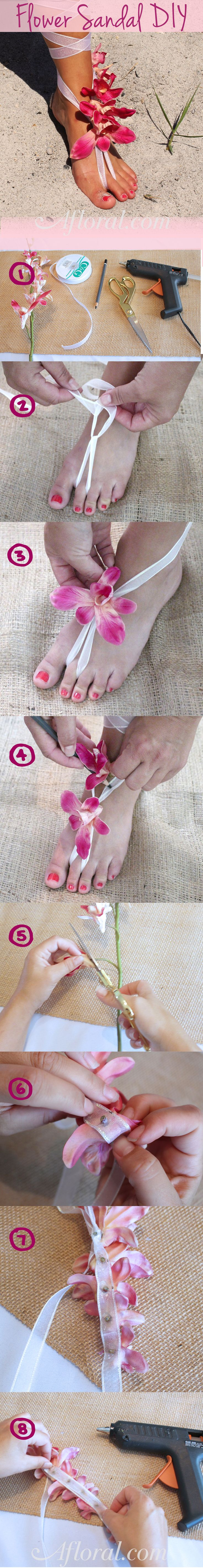 DIY Beach Flower Sandal. Create your own fabulous footwear for your walk down the aisle. Follow the simple tutorial from Afloral.com and step out in style!
