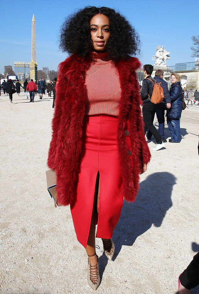 Solange-Knowles's-Carven-Fall-2015-Show-Carven-Pre-Fall-2015-Red-Sweater-and-High-Slit-Pencil-Skirt - Repost from Fashion Bomb Daily